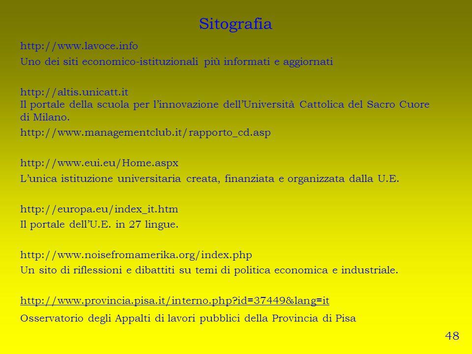 Sitografia 48 http://www.lavoce.info
