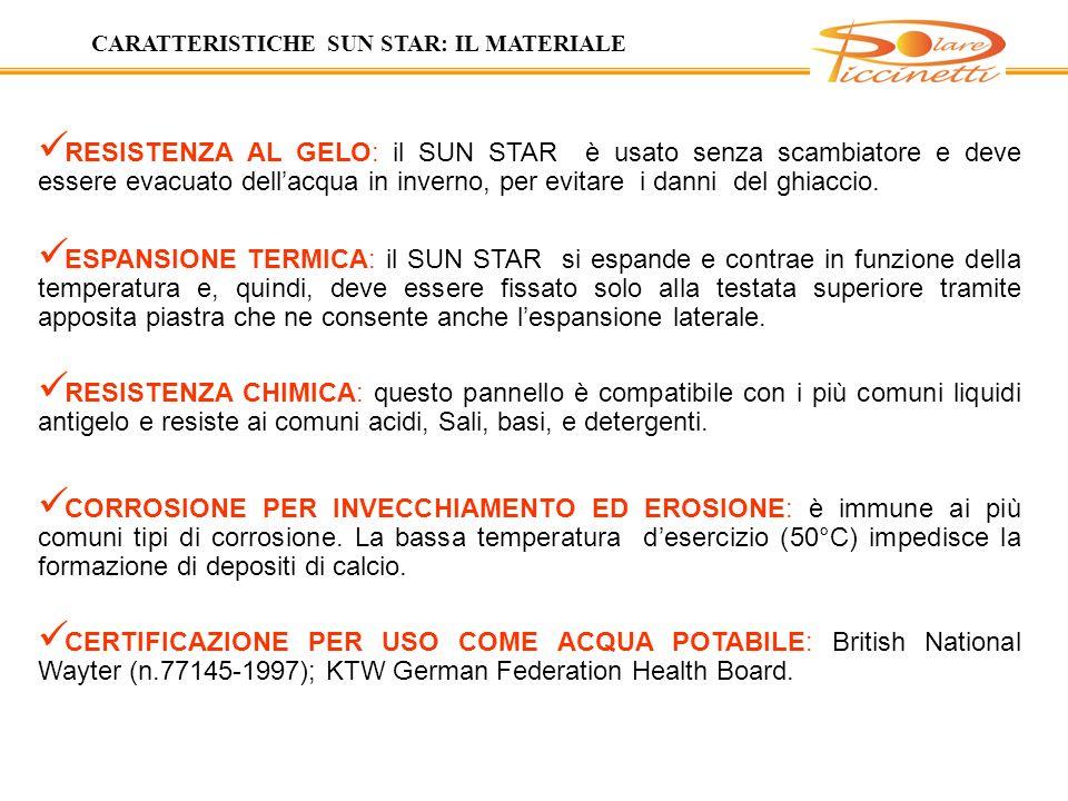 CARATTERISTICHE SUN STAR: IL MATERIALE
