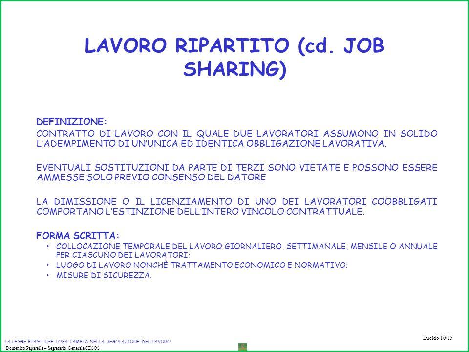 LAVORO RIPARTITO (cd. JOB SHARING)