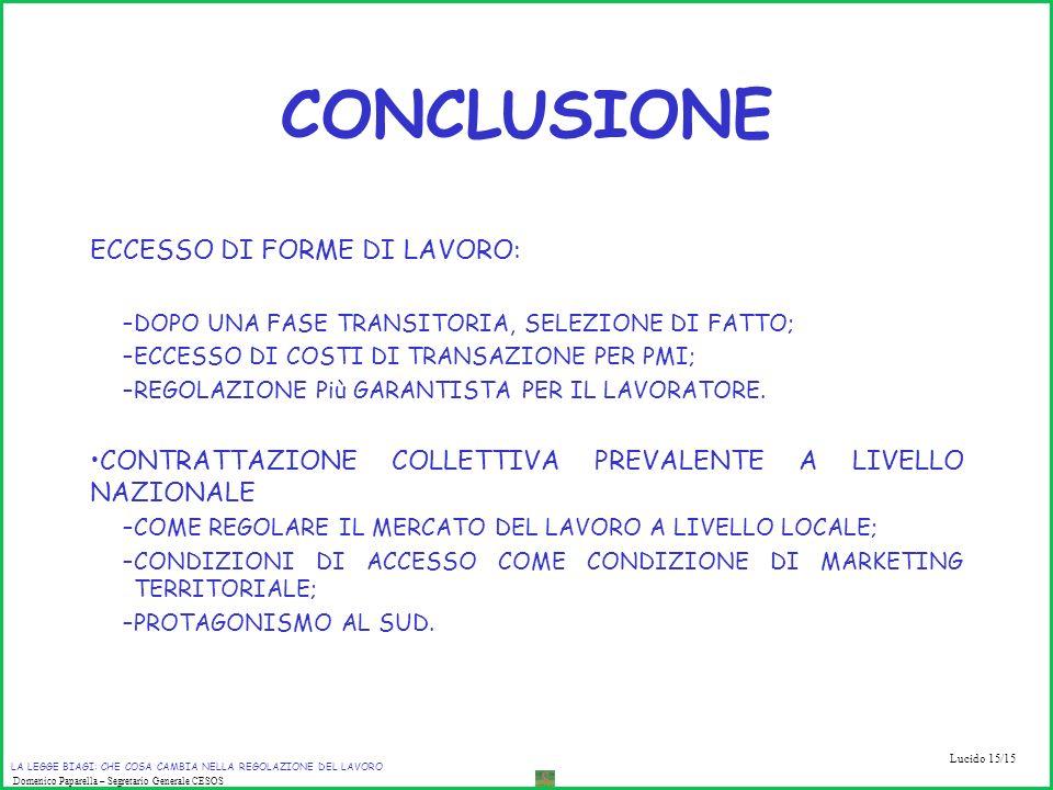 CONCLUSIONE ECCESSO DI FORME DI LAVORO: