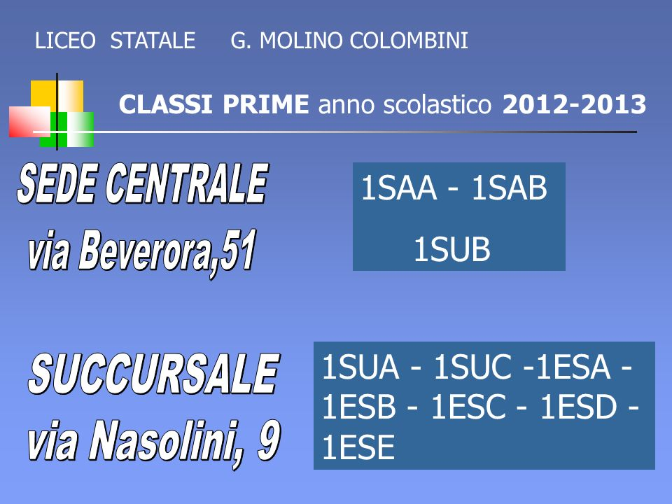 1SUA - 1SUC -1ESA - 1ESB - 1ESC - 1ESD - 1ESE SUCCURSALE