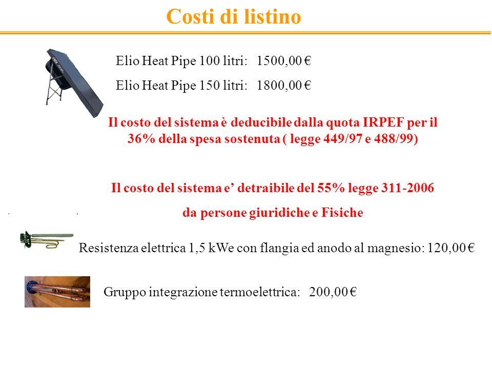 Costi di listino Elio Heat Pipe 100 litri: 1500,00 €