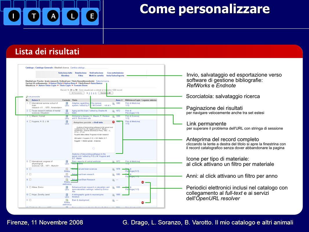 Come personalizzare Firenze, 11 Novembre 2008