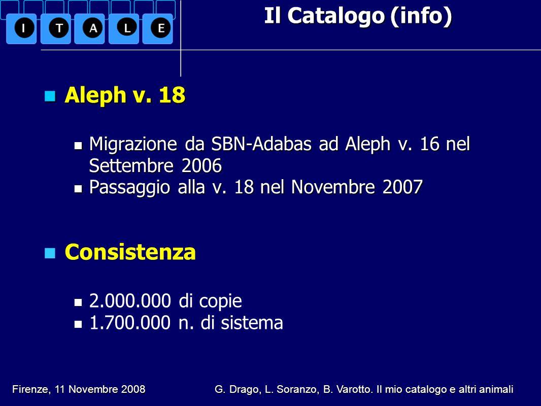 Aleph v. 18 Consistenza Il Catalogo (info)