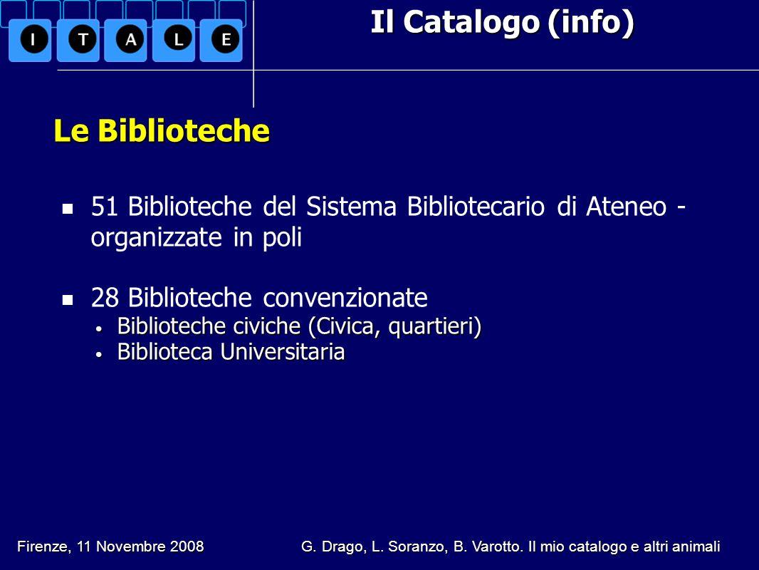 Il Catalogo (info) Le Biblioteche