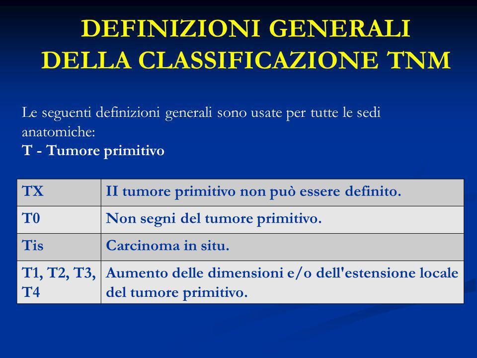 DEFINIZIONI GENERALI DELLA CLASSIFICAZIONE TNM