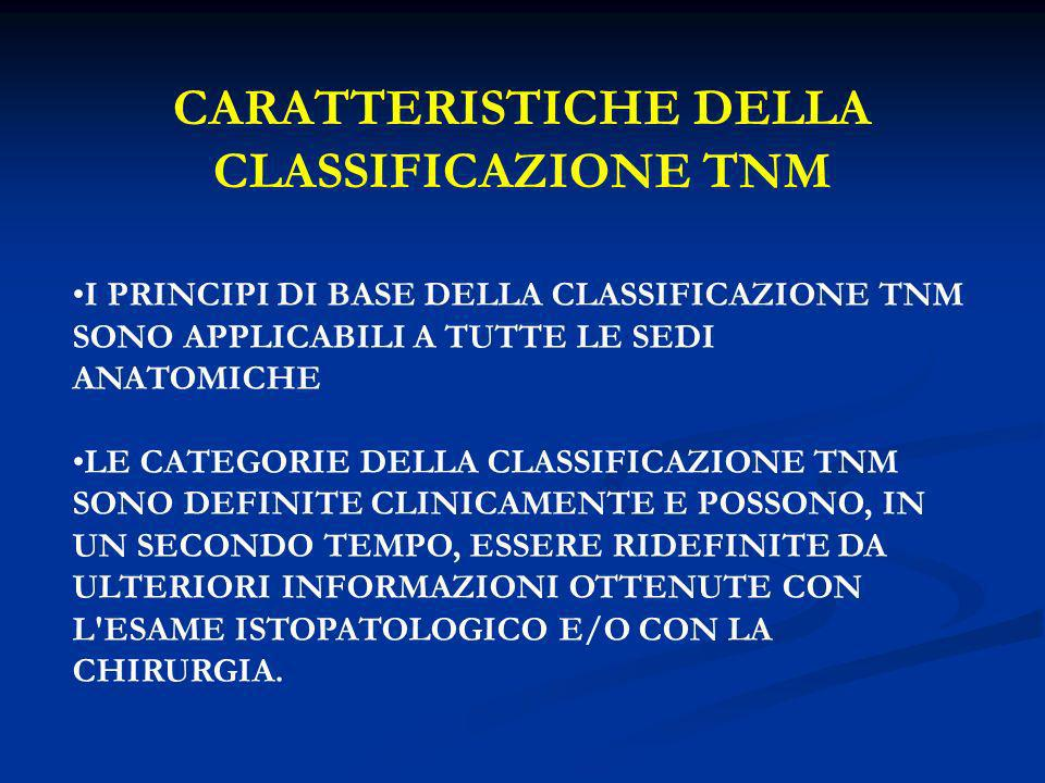 CARATTERISTICHE DELLA CLASSIFICAZIONE TNM