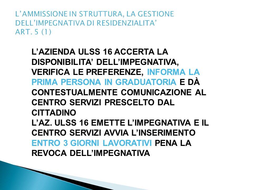 L'AMMISSIONE IN STRUTTURA, LA GESTIONE DELL'IMPEGNATIVA DI RESIDENZIALITA' ART. 5 (1)