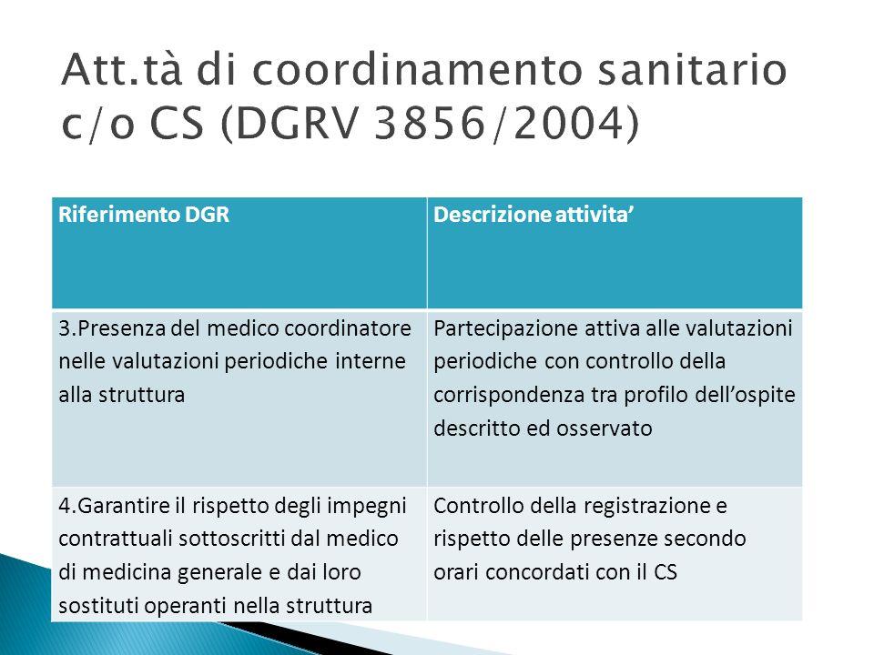 Att.tà di coordinamento sanitario c/o CS (DGRV 3856/2004)