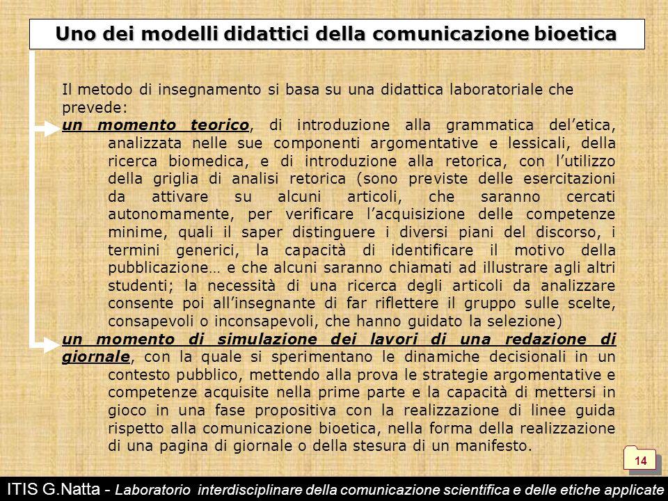 Uno dei modelli didattici della comunicazione bioetica