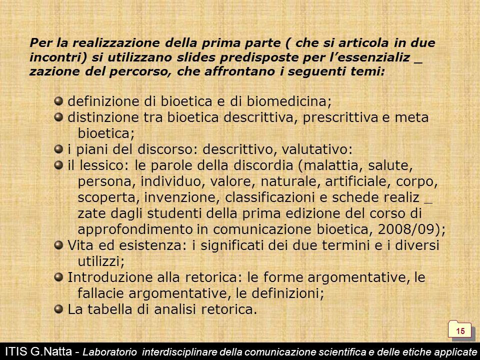 definizione di bioetica e di biomedicina;