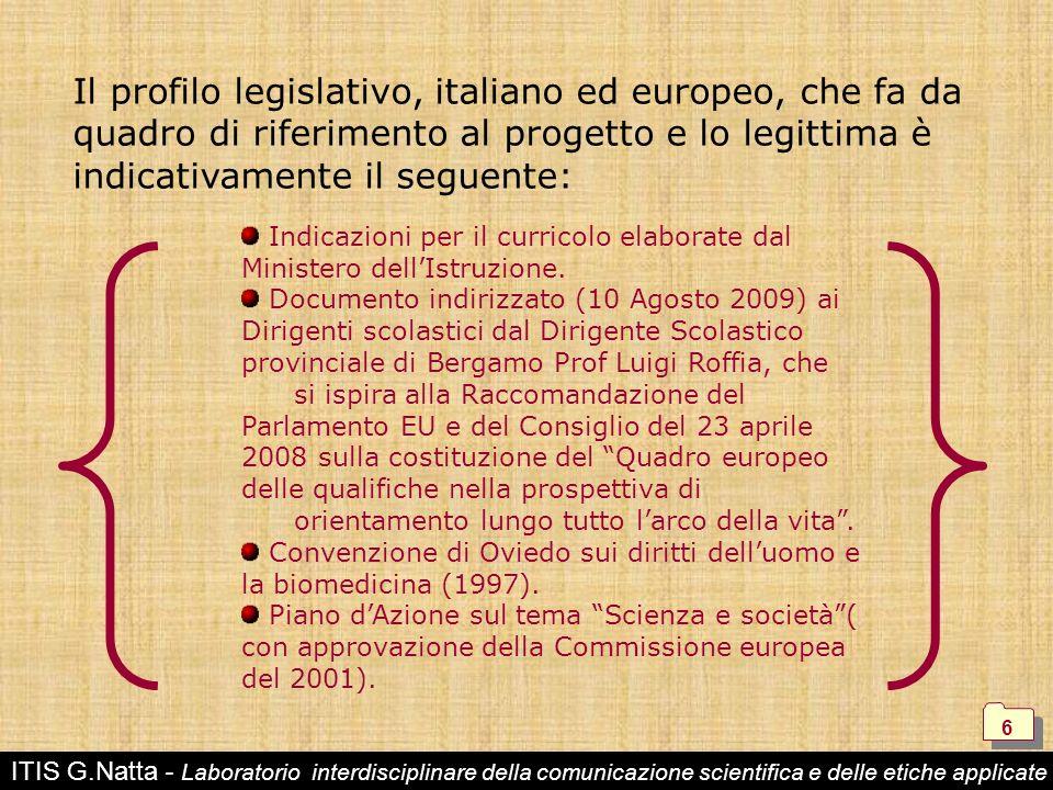 Il profilo legislativo, italiano ed europeo, che fa da quadro di riferimento al progetto e lo legittima è indicativamente il seguente: