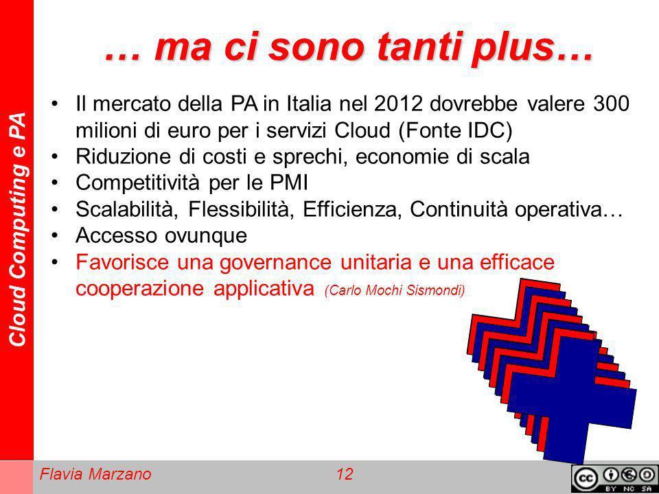 … ma ci sono tanti plus… Il mercato della PA in Italia nel 2012 dovrebbe valere 300 milioni di euro per i servizi Cloud (Fonte IDC)