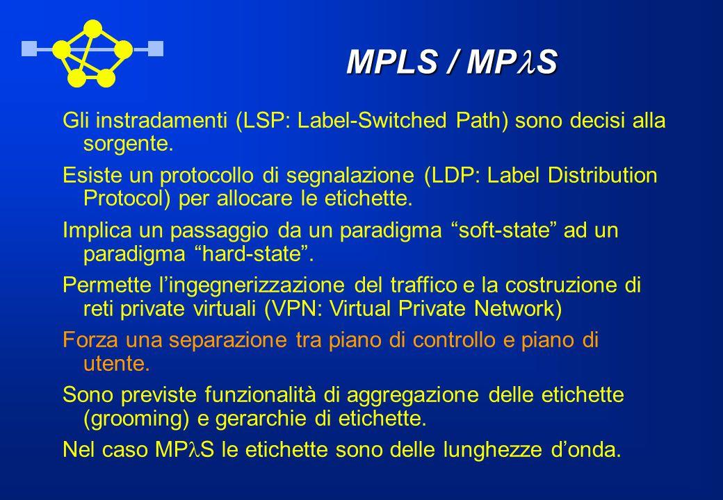 MPLS / MPlS Gli instradamenti (LSP: Label-Switched Path) sono decisi alla sorgente.