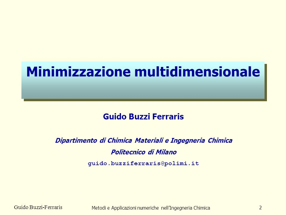 Minimizzazione multidimensionale