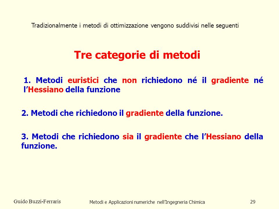 Tre categorie di metodi