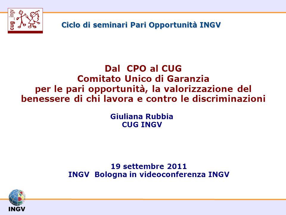 Ciclo di seminari Pari Opportunità INGV