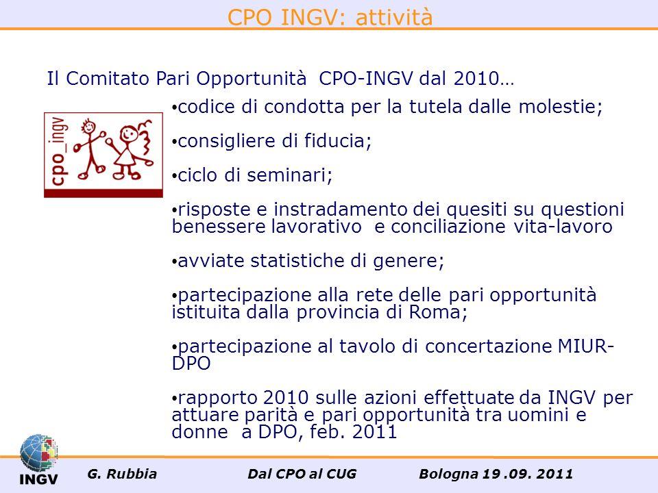 CPO INGV: attività Il Comitato Pari Opportunità CPO-INGV dal 2010…