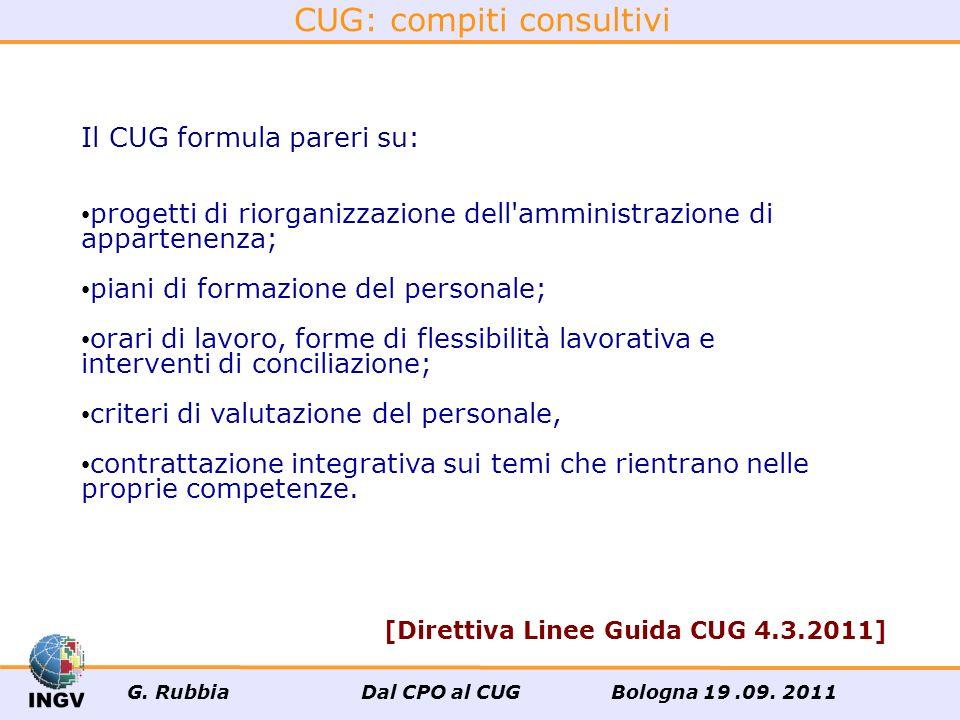 CUG: compiti consultivi