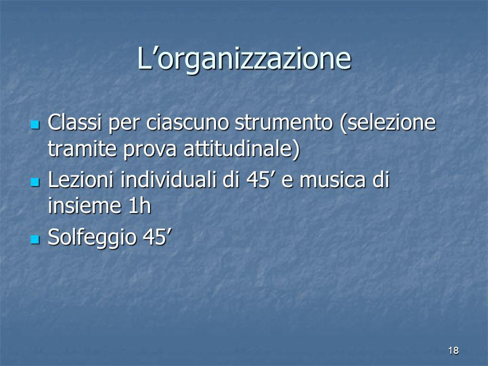 L'organizzazione Classi per ciascuno strumento (selezione tramite prova attitudinale) Lezioni individuali di 45' e musica di insieme 1h.
