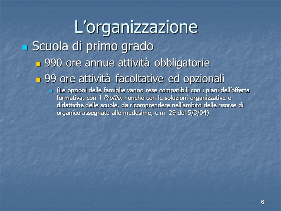L'organizzazione Scuola di primo grado
