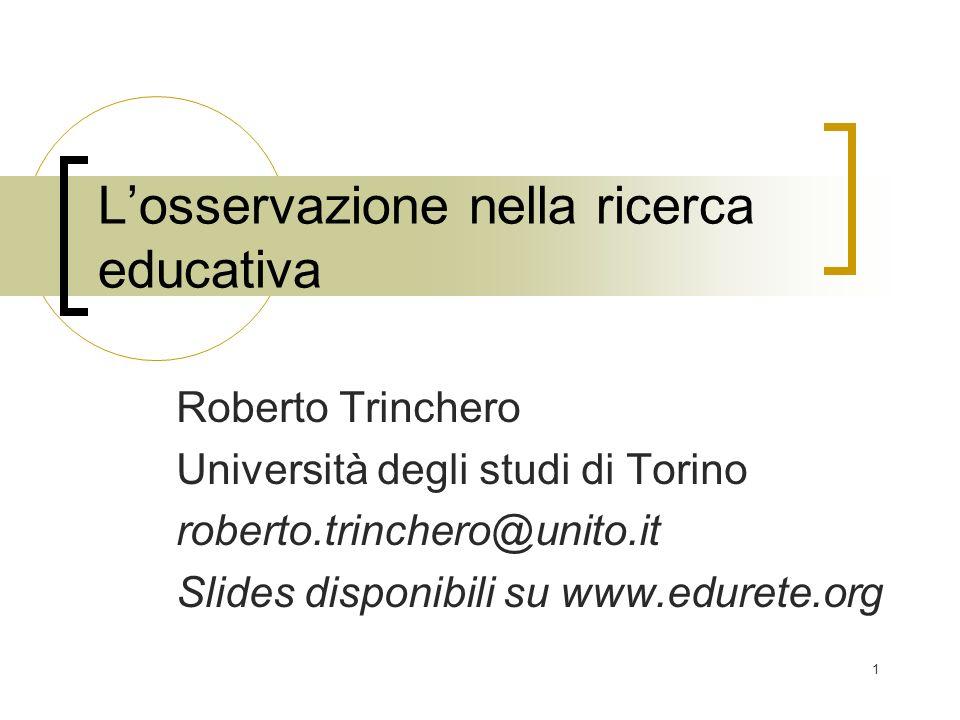 L'osservazione nella ricerca educativa