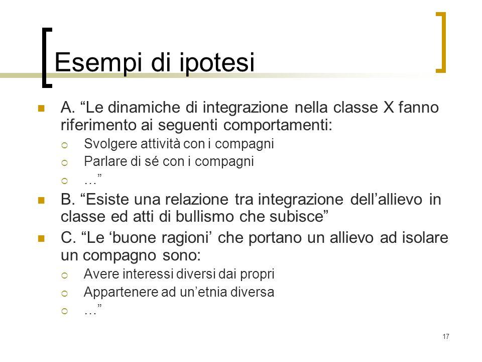 Esempi di ipotesiA. Le dinamiche di integrazione nella classe X fanno riferimento ai seguenti comportamenti: