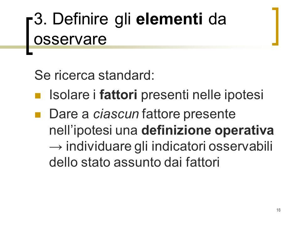 3. Definire gli elementi da osservare
