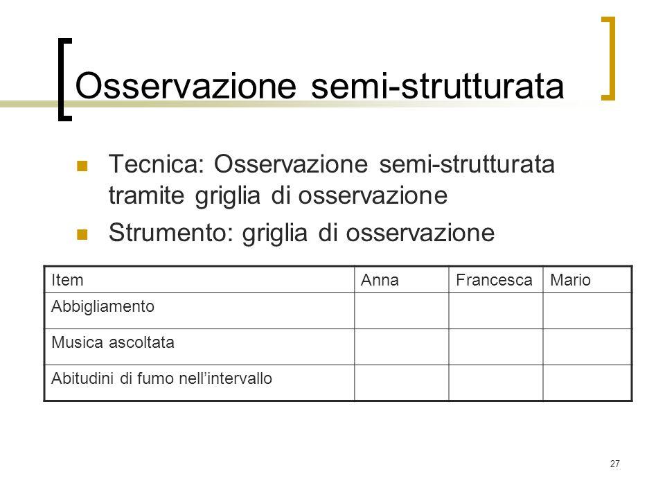 Osservazione semi-strutturata