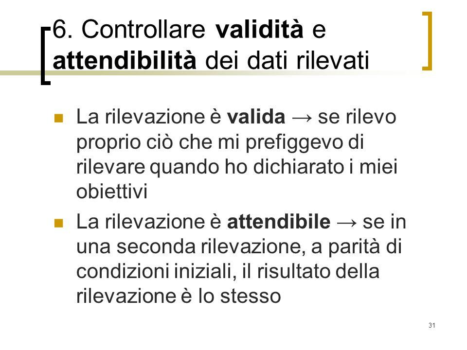 6. Controllare validità e attendibilità dei dati rilevati