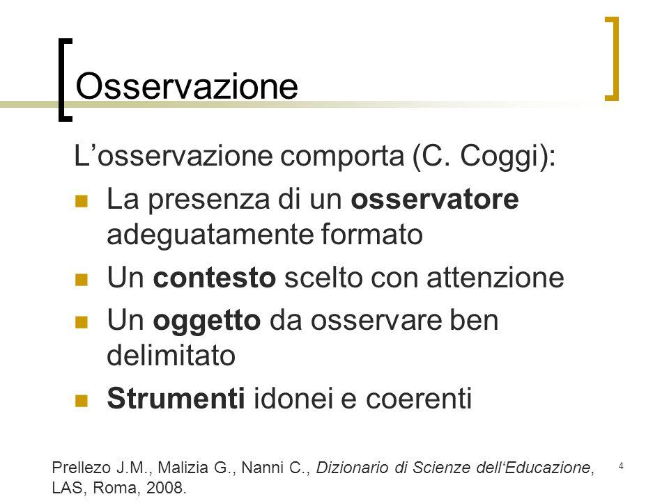 Osservazione L'osservazione comporta (C. Coggi):