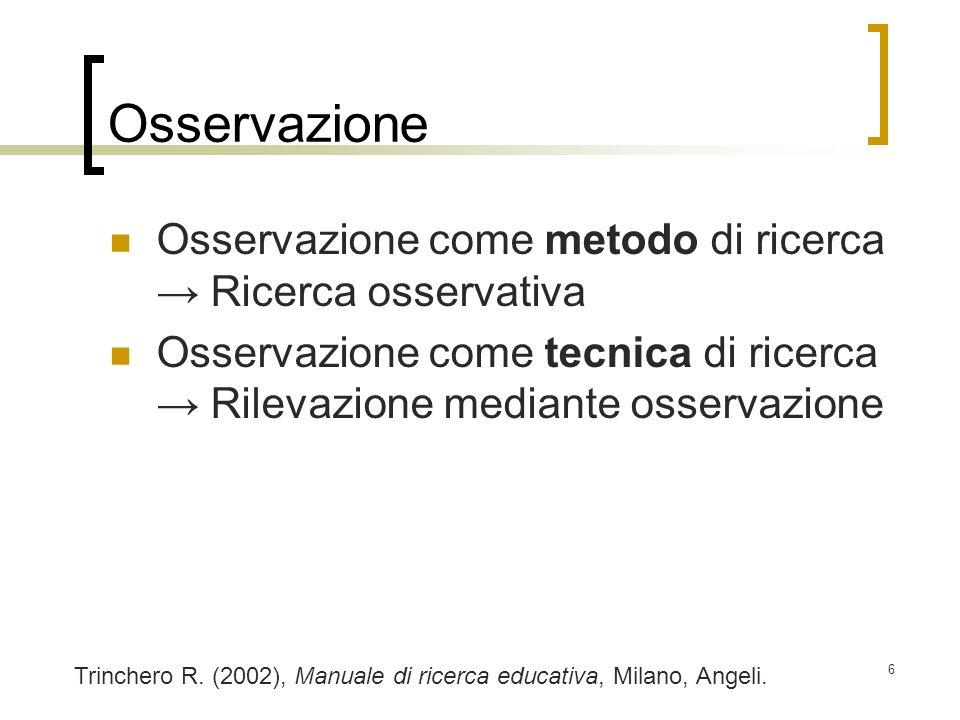 Osservazione Osservazione come metodo di ricerca → Ricerca osservativa