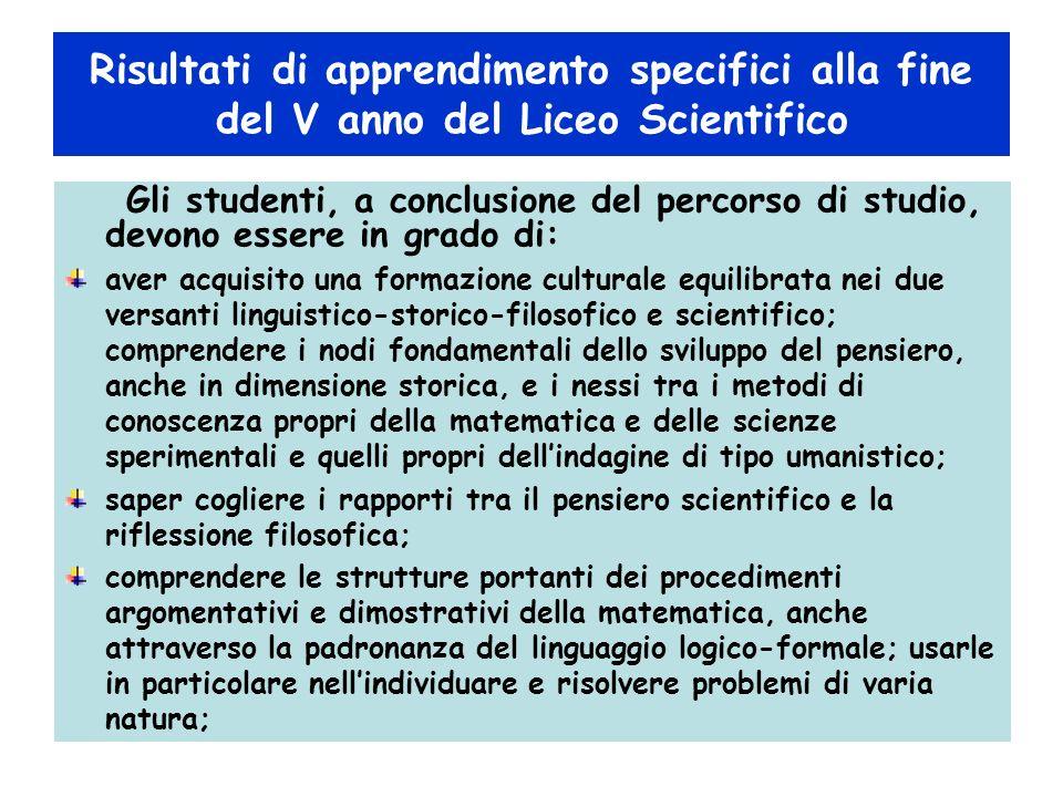 Risultati di apprendimento specifici alla fine del V anno del Liceo Scientifico