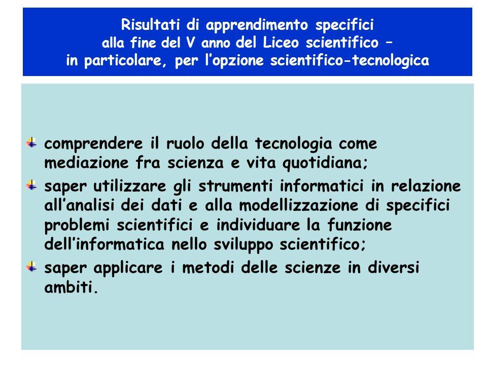 saper applicare i metodi delle scienze in diversi ambiti.
