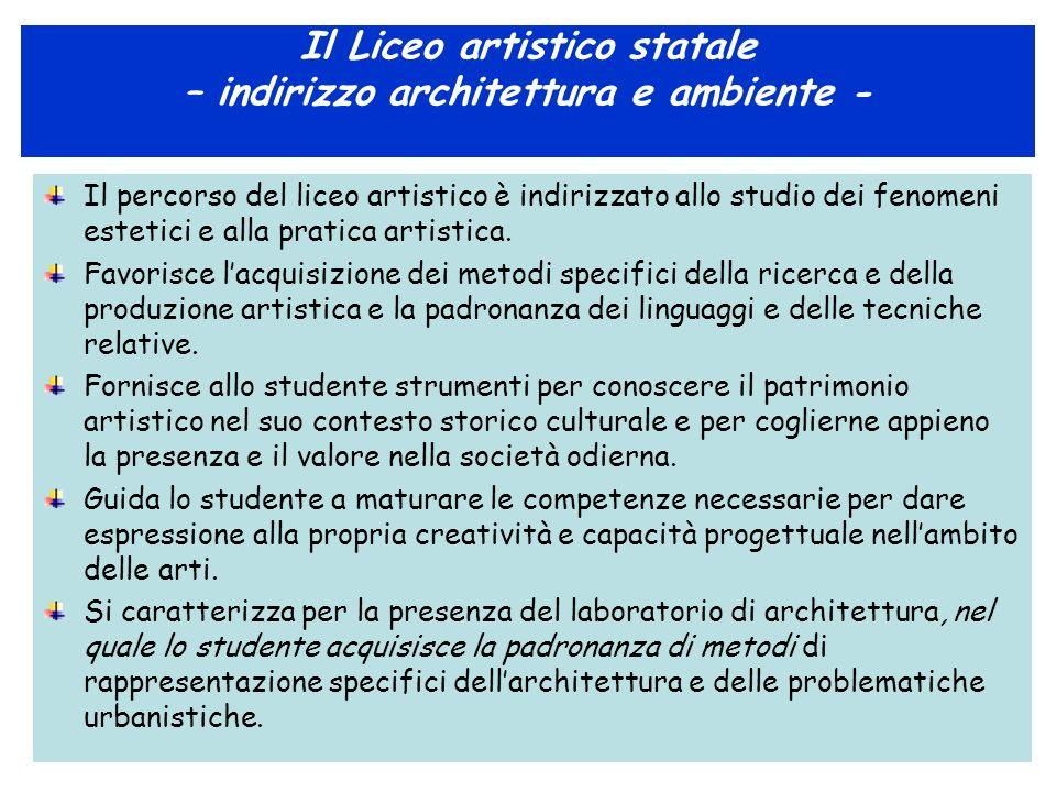 Il Liceo artistico statale – indirizzo architettura e ambiente -