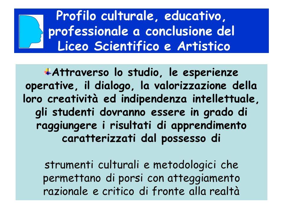 Profilo culturale, educativo, professionale a conclusione del Liceo Scientifico e Artistico