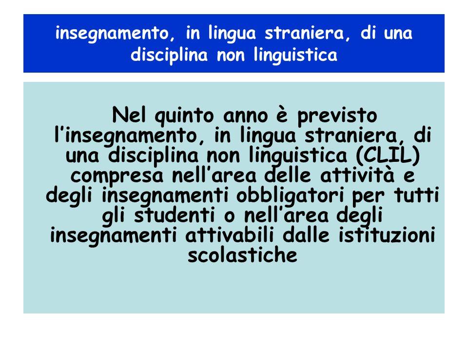 insegnamento, in lingua straniera, di una disciplina non linguistica