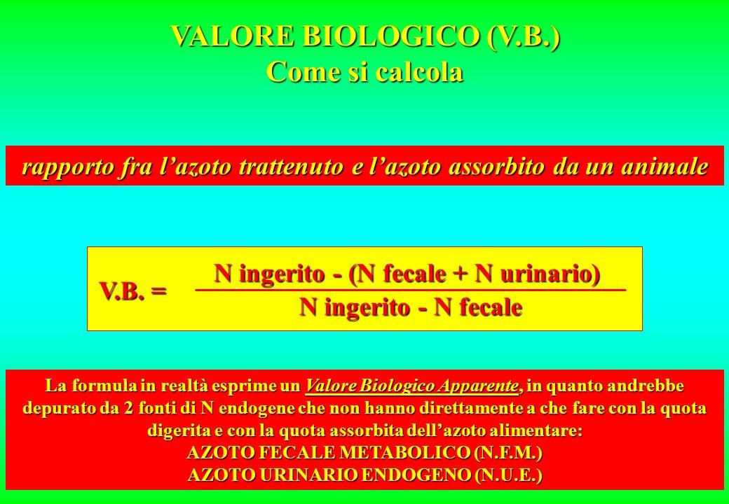 VALORE BIOLOGICO (V.B.) Come si calcola