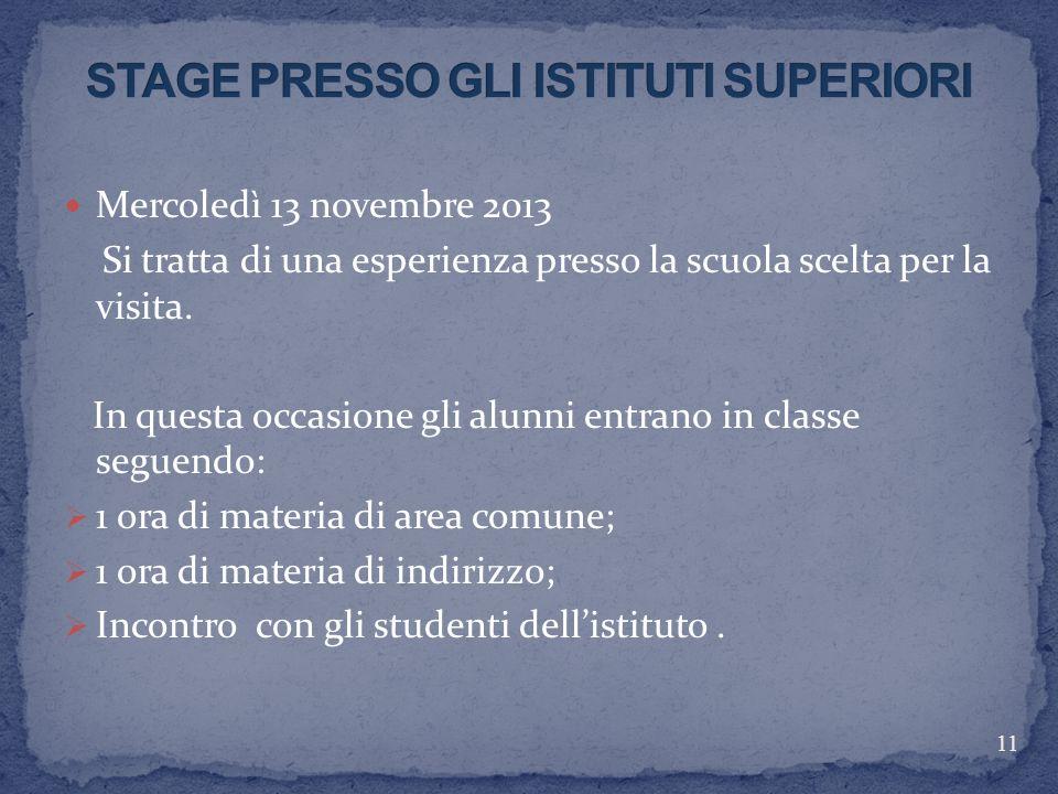 STAGE PRESSO GLI ISTITUTI SUPERIORI