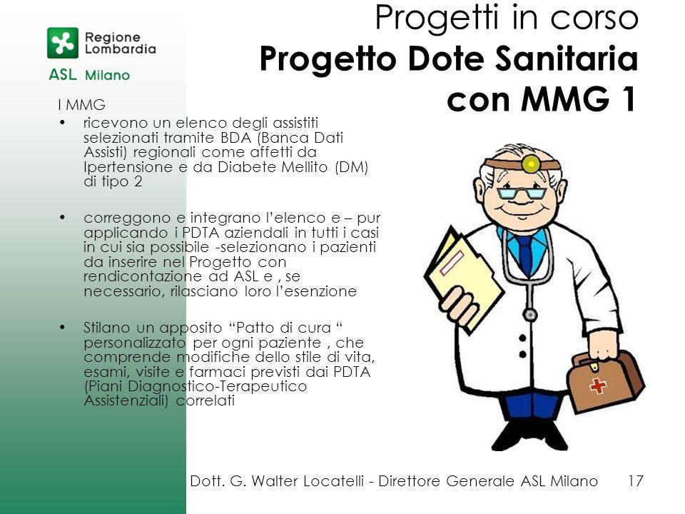 Progetti in corso Progetto Dote Sanitaria con MMG 1
