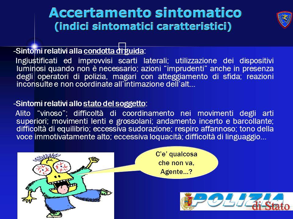 Accertamento sintomatico (indici sintomatici caratteristici)