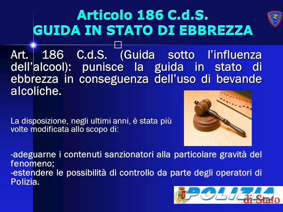 Articolo 186 C.d.S. GUIDA IN STATO DI EBBREZZA