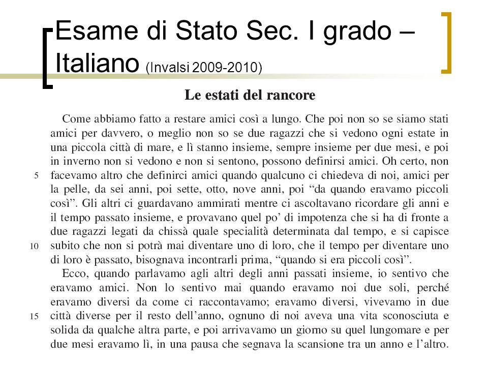 Esame di Stato Sec. I grado – Italiano (Invalsi 2009-2010)