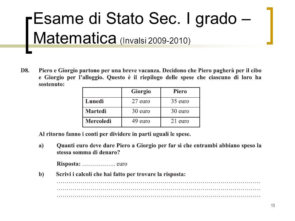 Esame di Stato Sec. I grado – Matematica (Invalsi 2009-2010)