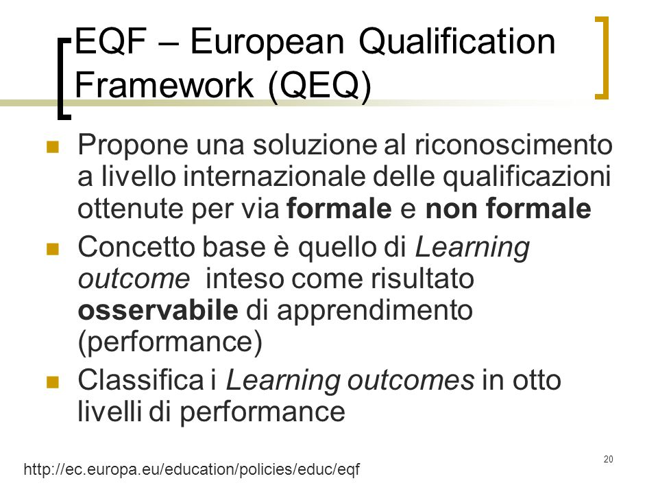 EQF – European Qualification Framework (QEQ)