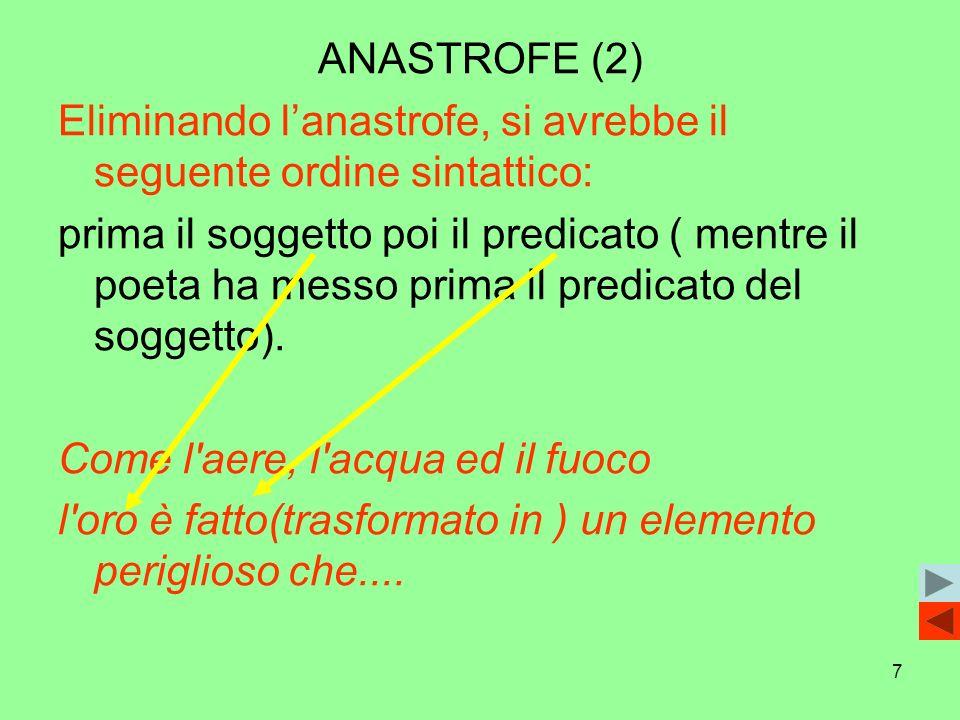 ANASTROFE (2)Eliminando l'anastrofe, si avrebbe il seguente ordine sintattico: