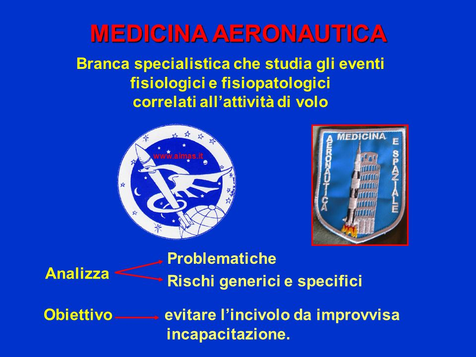 MEDICINA AERONAUTICA Branca specialistica che studia gli eventi fisiologici e fisiopatologici. correlati all'attività di volo.
