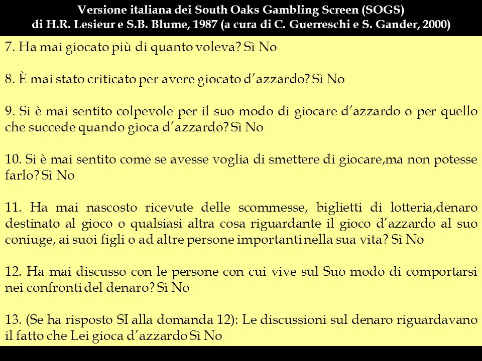 Versione italiana dei South Oaks Gambling Screen (SOGS)