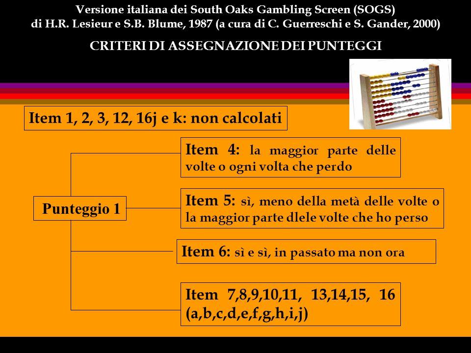 Item 1, 2, 3, 12, 16j e k: non calcolati