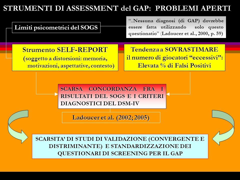 STRUMENTI DI ASSESSMENT del GAP: PROBLEMI APERTI